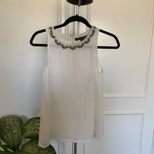 French Connection White Sleeveless Blouse
